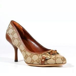 Gucci shoes Brown GG fabric leather Pumps 138711